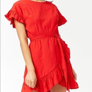 Red Ruffled Tulip Dress - Size Small